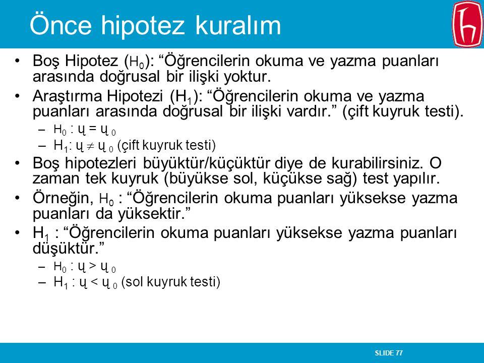 """SLIDE 77 Önce hipotez kuralım Boş Hipotez ( H 0 ): """"Öğrencilerin okuma ve yazma puanları arasında doğrusal bir ilişki yoktur. Araştırma Hipotezi (H 1"""