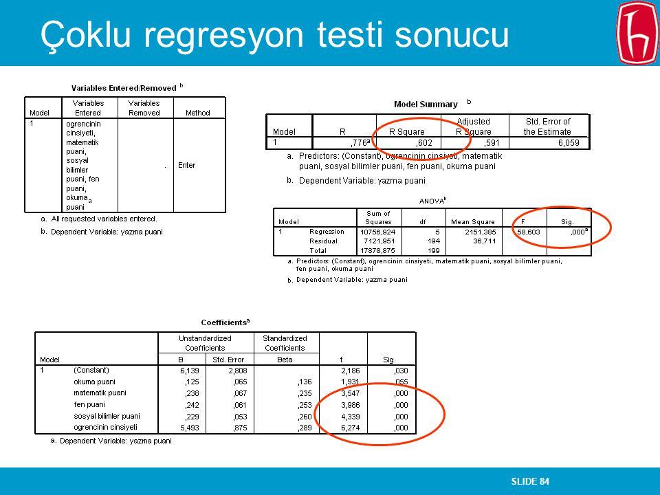 SLIDE 84 Çoklu regresyon testi sonucu