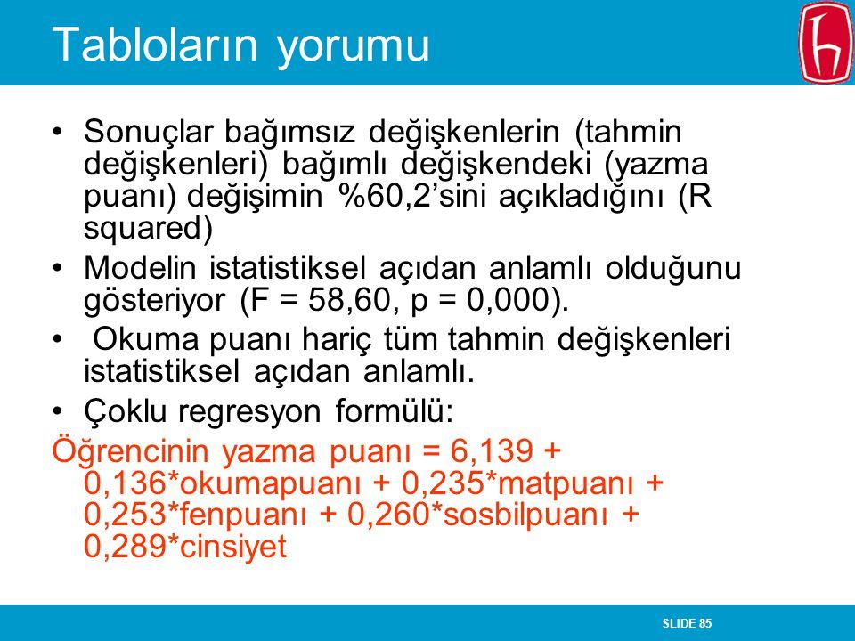 SLIDE 85 Tabloların yorumu Sonuçlar bağımsız değişkenlerin (tahmin değişkenleri) bağımlı değişkendeki (yazma puanı) değişimin %60,2'sini açıkladığını