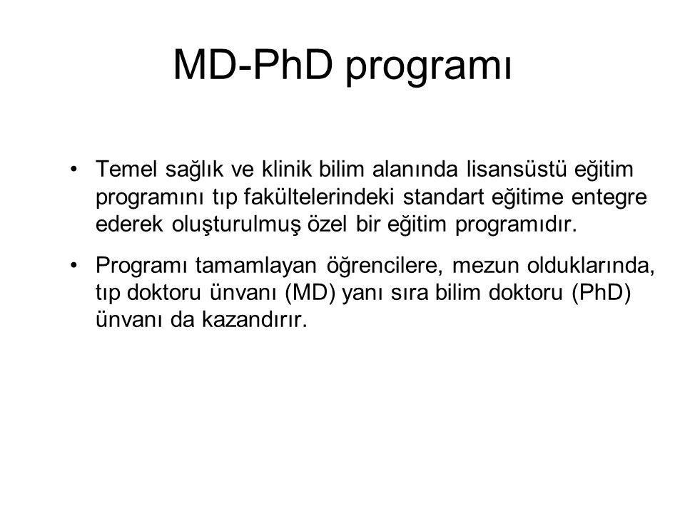MD-PhD programı Temel sağlık ve klinik bilim alanında lisansüstü eğitim programını tıp fakültelerindeki standart eğitime entegre ederek oluşturulmuş ö