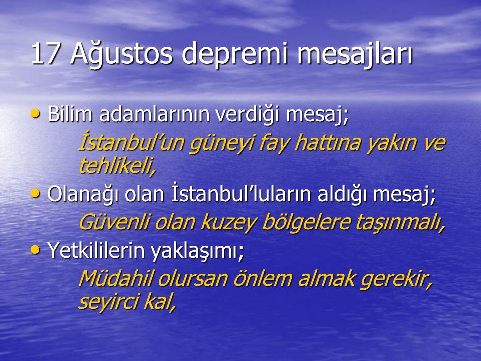 17 Ağustos depremi mesajları Bilim adamlarının verdiği mesaj; Bilim adamlarının verdiği mesaj; İstanbul'un güneyi fay hattına yakın ve tehlikeli, Olan
