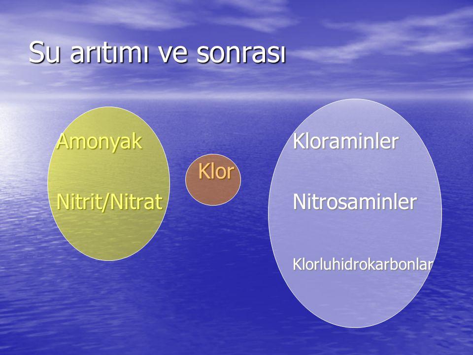 Su arıtımı ve sonrası AmonyakKloraminler Klor Nitrit/NitratNitrosaminler Klorluhidrokarbonlar