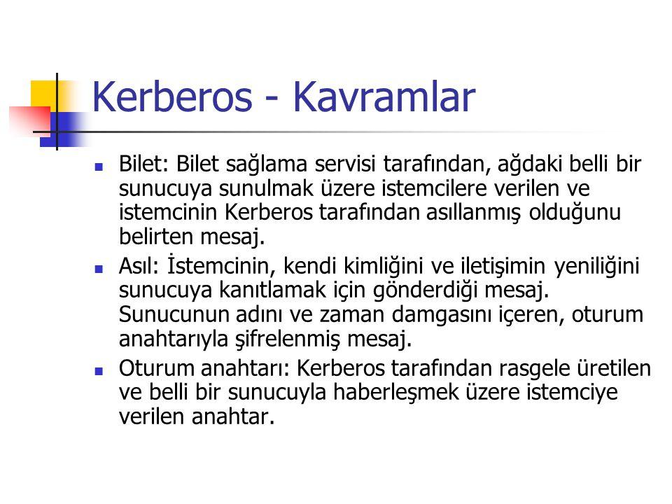 Kerberos - Kavramlar Bilet: Bilet sağlama servisi tarafından, ağdaki belli bir sunucuya sunulmak üzere istemcilere verilen ve istemcinin Kerberos tara