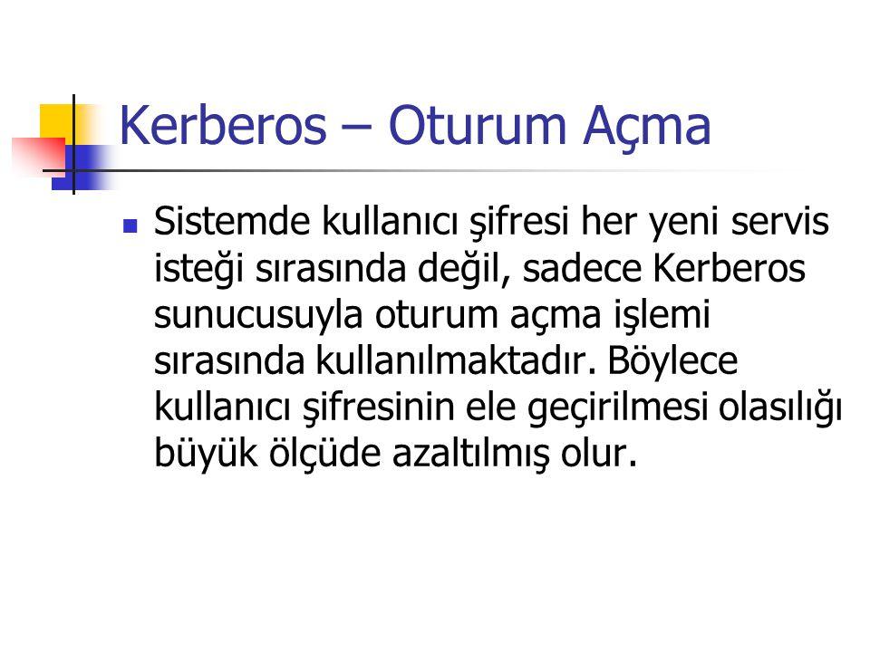 Kerberos – Oturum Açma Sistemde kullanıcı şifresi her yeni servis isteği sırasında değil, sadece Kerberos sunucusuyla oturum açma işlemi sırasında kul