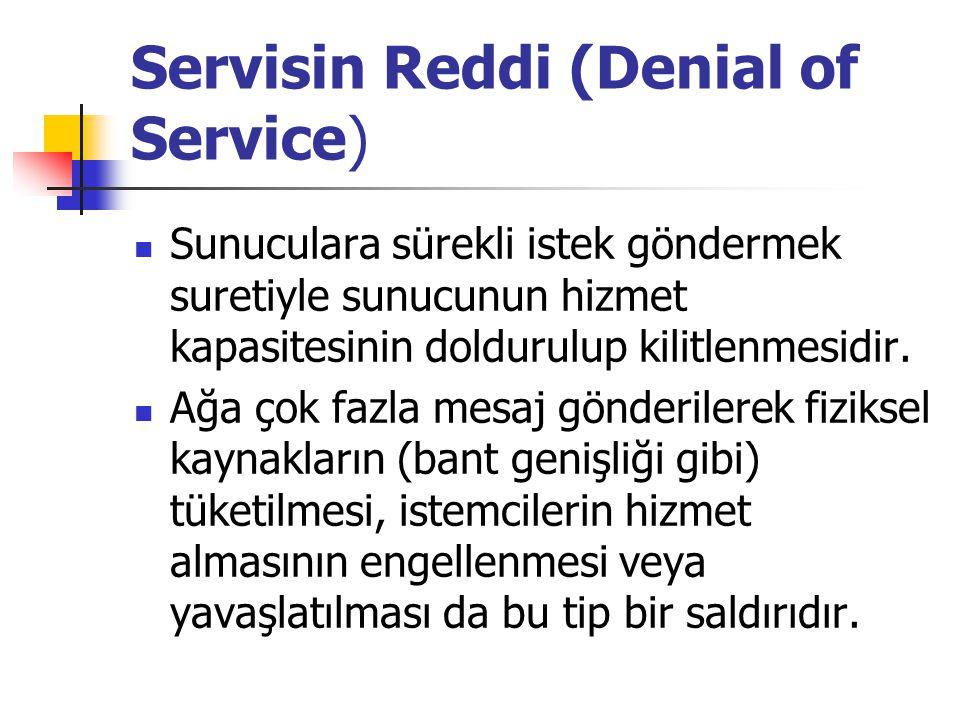 Servisin Reddi (Denial of Service) Sunuculara sürekli istek göndermek suretiyle sunucunun hizmet kapasitesinin doldurulup kilitlenmesidir. Ağa çok faz