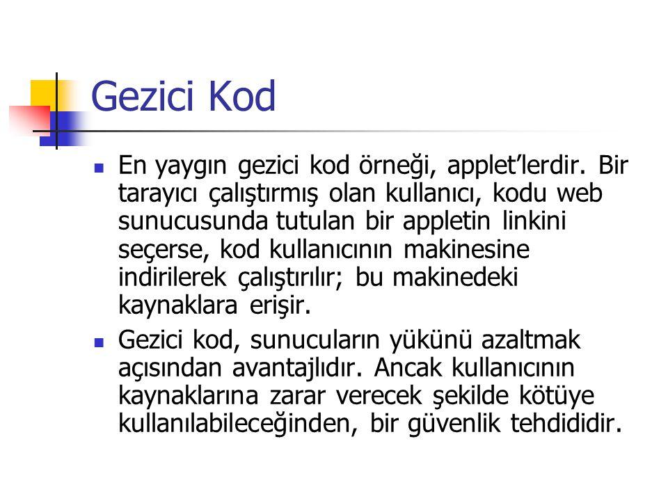 Gezici Kod En yaygın gezici kod örneği, applet'lerdir. Bir tarayıcı çalıştırmış olan kullanıcı, kodu web sunucusunda tutulan bir appletin linkini seçe