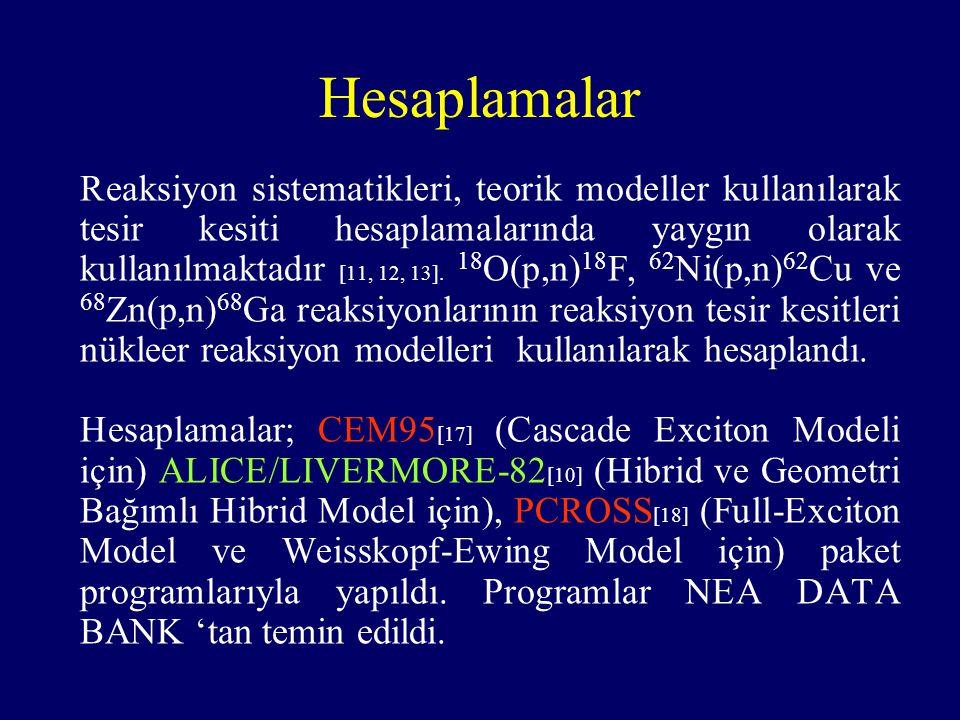 Hesaplamalar Reaksiyon sistematikleri, teorik modeller kullanılarak tesir kesiti hesaplamalarında yaygın olarak kullanılmaktadır [11, 12, 13]. 18 O(p,