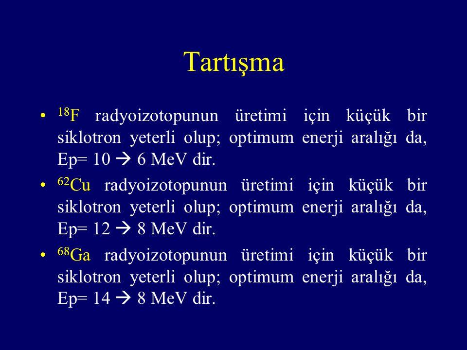 Tartışma 18 F radyoizotopunun üretimi için küçük bir siklotron yeterli olup; optimum enerji aralığı da, Ep= 10  6 MeV dir. 62 Cu radyoizotopunun üret