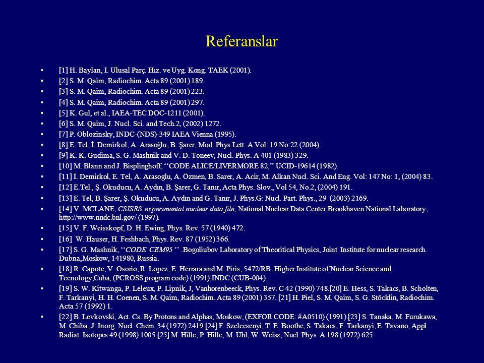 Referanslar [1] H. Baylan, I. Ulusal Parç. Hız. ve Uyg. Kong. TAEK (2001). [2] S. M. Qaim, Radiochim. Acta 89 (2001) 189. [3] S. M. Qaim, Radiochim. A