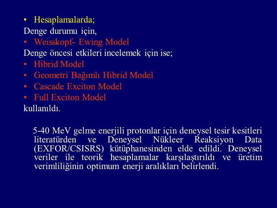 Hesaplamalarda; Denge durumu için, Weisskopf- Ewing Model Denge öncesi etkileri incelemek için ise; Hibrid Model Geometri Bağımlı Hibrid Model Cascade