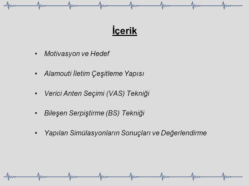 Motivasyon ve Hedef Alamouti İletim Çeşitleme Yapısı Verici Anten Seçimi (VAS) Tekniği Bileşen Serpiştirme (BS) Tekniği Yapılan Simülasyonların Sonuçl