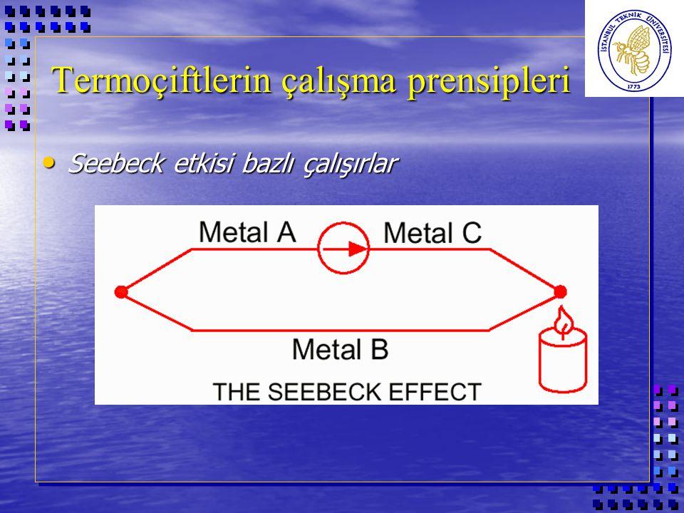 Termoçiftlerin çalışma prensipleri Seebeck etkisi bazlı çalışırlar Seebeck etkisi bazlı çalışırlar