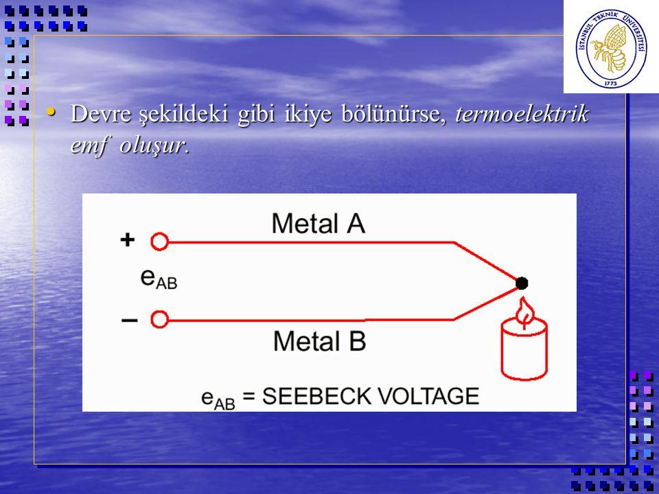 Devre şekildeki gibi ikiye bölünürse, termoelektrik emf oluşur.