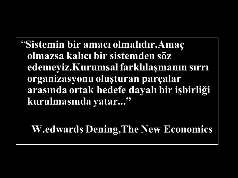 Sistemin bir amacı olmalıdır.Amaç olmazsa kalıcı bir sistemden söz edemeyiz.Kurumsal farklılaşmanın sırrı organizasyonu oluşturan parçalar arasında ortak hedefe dayalı bir işbirliği kurulmasında yatar... W.edwards Dening,The New Economics