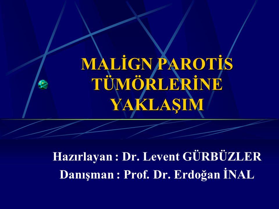 GİRİŞ Parotis, sublingual, submandibuler bezlerin tümörleri tüm baş ve boyun neoplazmlarının % 3 - % 4'ünü oluşturmaktadır.