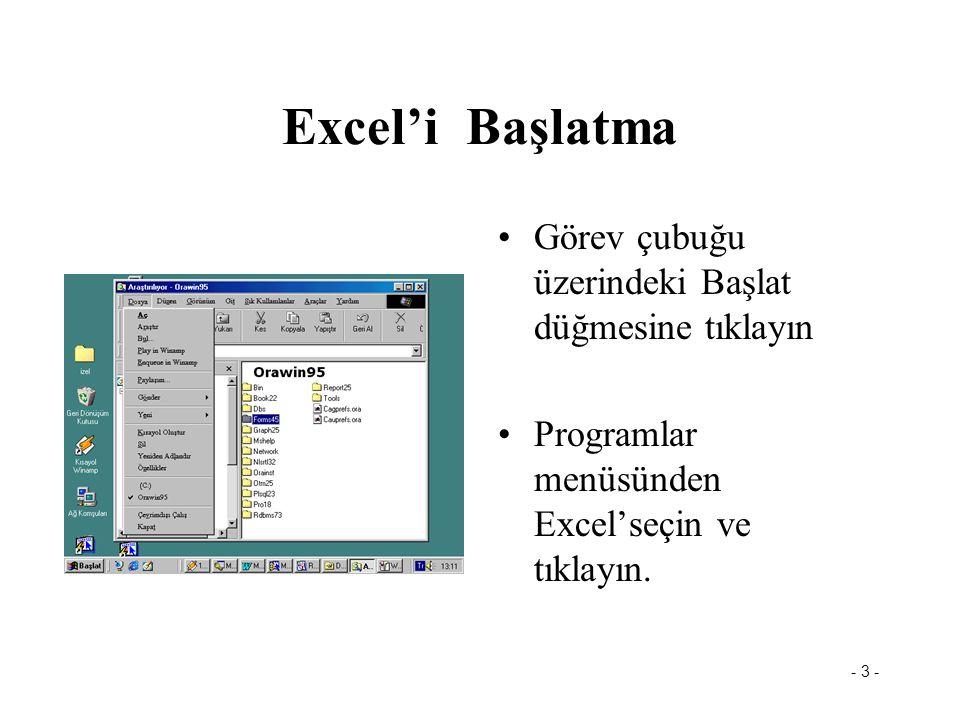 - 4 - Excel'i Başlat Başlat menüsünden- programlar menüsünü seçerek Excel'i tıklayın