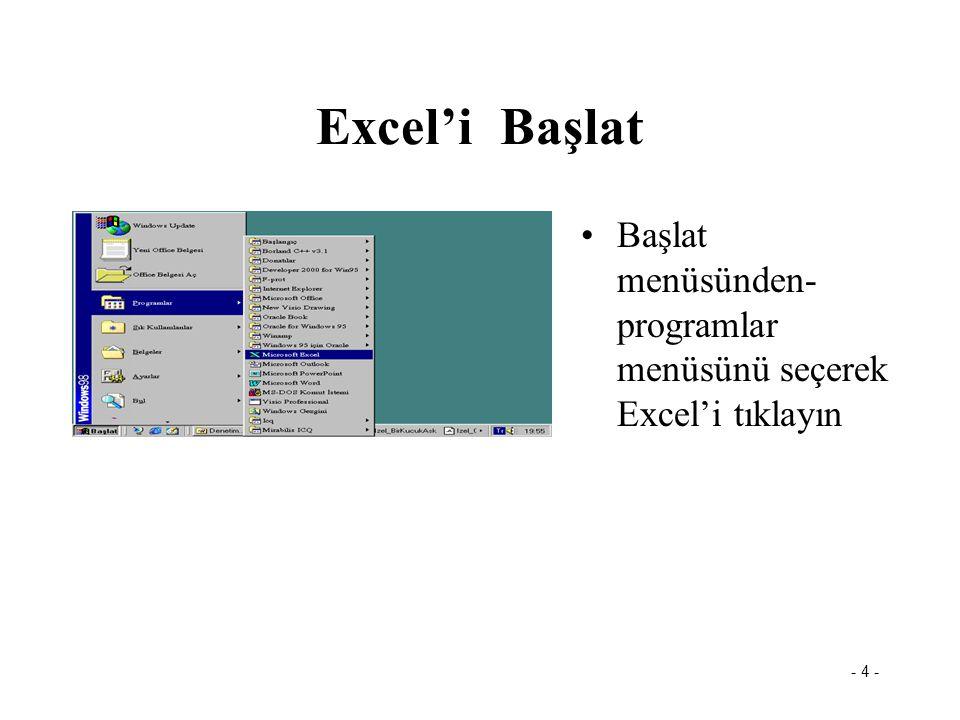 - 5 - Excel Penceresi Menü Çubuğu Adres kutusu Etkin Hücre Sayfalar Başlık çubuğu: dosya adı Formül çubuğu Durum çubuğu Araç çubuğu