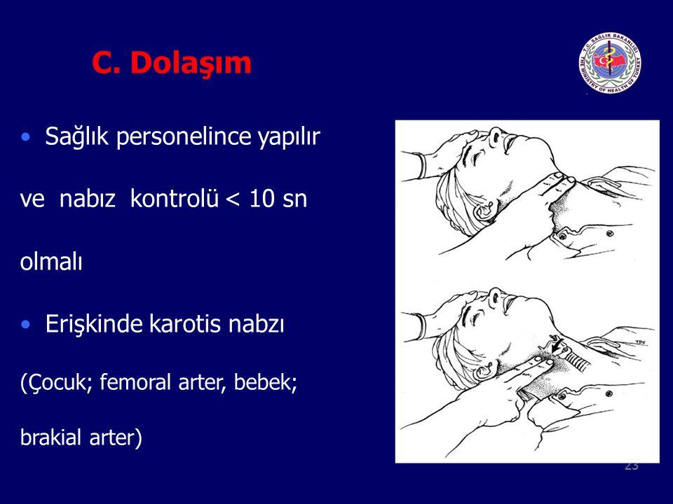 23 C. Dolaşım Sağlık personelince yapılır ve nabız kontrolü < 10 sn olmalı Erişkinde karotis nabzı (Çocuk; femoral arter, bebek; brakial arter)