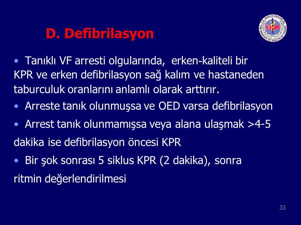33 D. Defibrilasyon Tanıklı VF arresti olgularında, erken - kaliteli bir KPR ve erken defibrilasyon sağ kalım ve hastaneden taburculuk oranlarını anla
