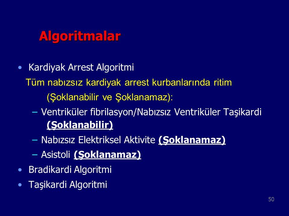 50 Algoritmalar Algoritmalar Kardiyak Arrest Algoritmi Tüm nabızsız kardiyak arrest kurbanlarında ritim (Şoklanabilir ve Şoklanamaz): –Ventriküler fib