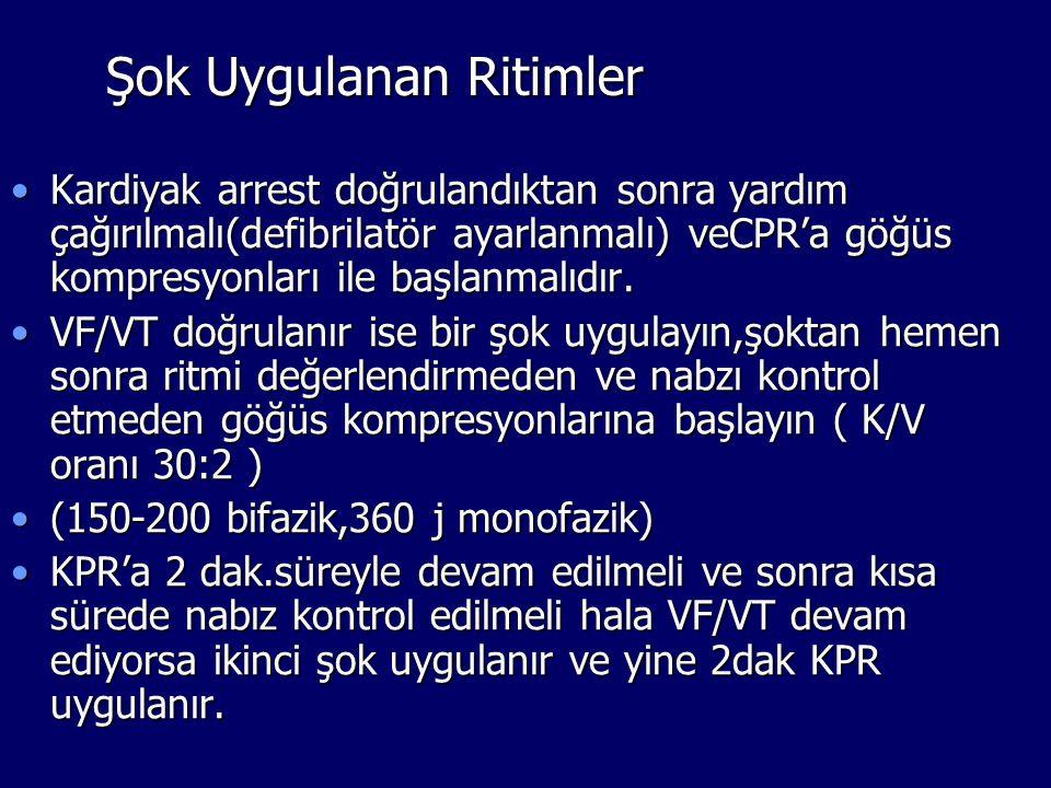 Şok Uygulanan Ritimler Kardiyak arrest doğrulandıktan sonra yardım çağırılmalı(defibrilatör ayarlanmalı) veCPR'a göğüs kompresyonları ile başlanmalıdı