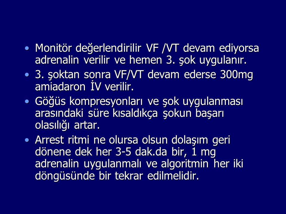 Monitör değerlendirilir VF /VT devam ediyorsa adrenalin verilir ve hemen 3. şok uygulanır.Monitör değerlendirilir VF /VT devam ediyorsa adrenalin veri