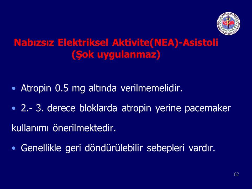 62 Nabızsız Elektriksel Aktivite(NEA)-Asistoli (Şok uygulanmaz) Atropin 0.5 mg altında verilmemelidir. 2.- 3. derece bloklarda atropin yerine pacemake