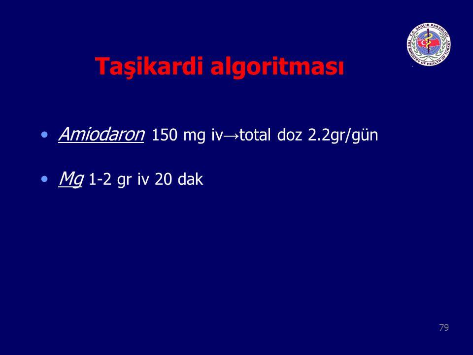79 Taşikardi algoritması Amiodaron 150 mg iv → total doz 2.2gr/gün Mg 1-2 gr iv 20 dak