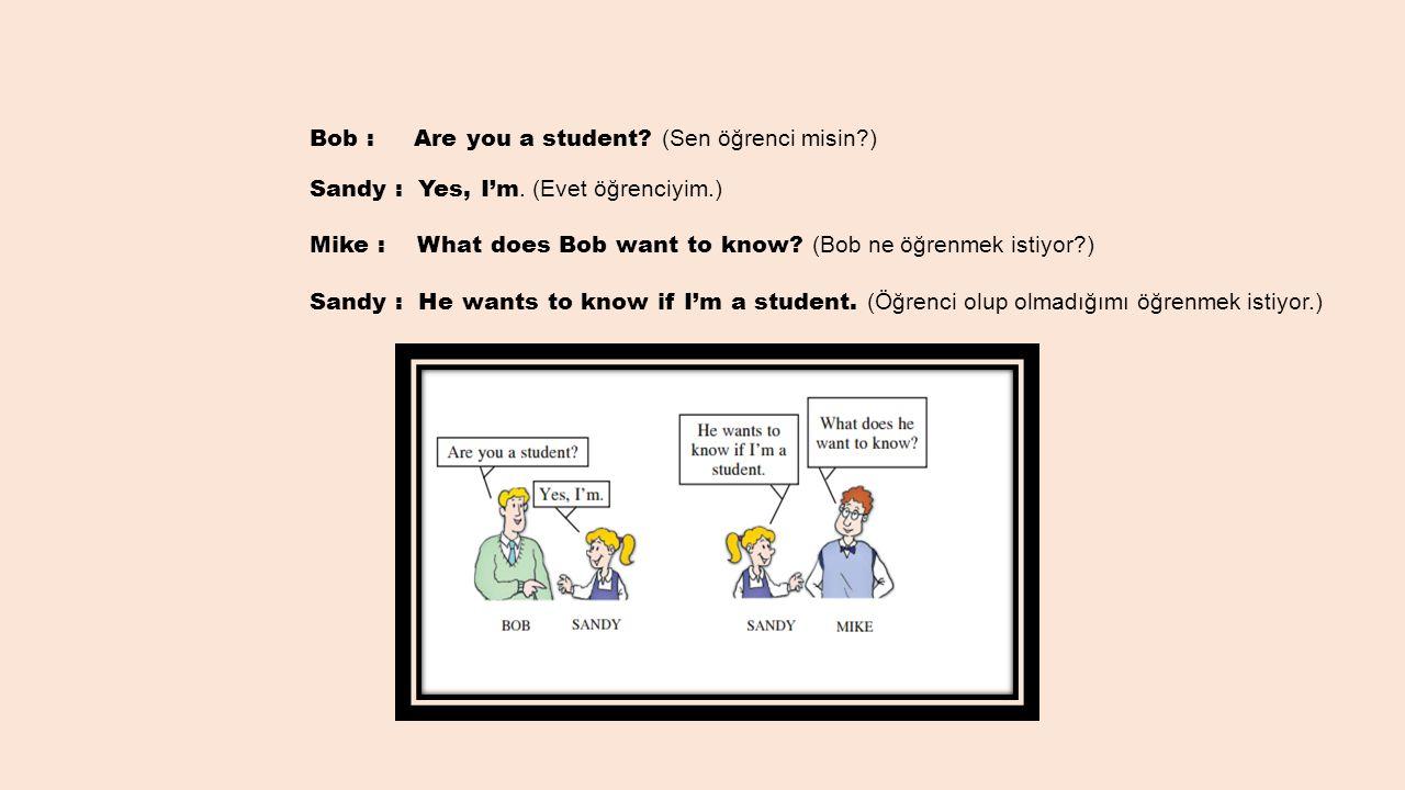 Bob : Are you a student? (Sen öğrenci misin?) Sandy : Yes, I'm. (Evet öğrenciyim.) Mike : What does Bob want to know? (Bob ne öğrenmek istiyor?) Sandy