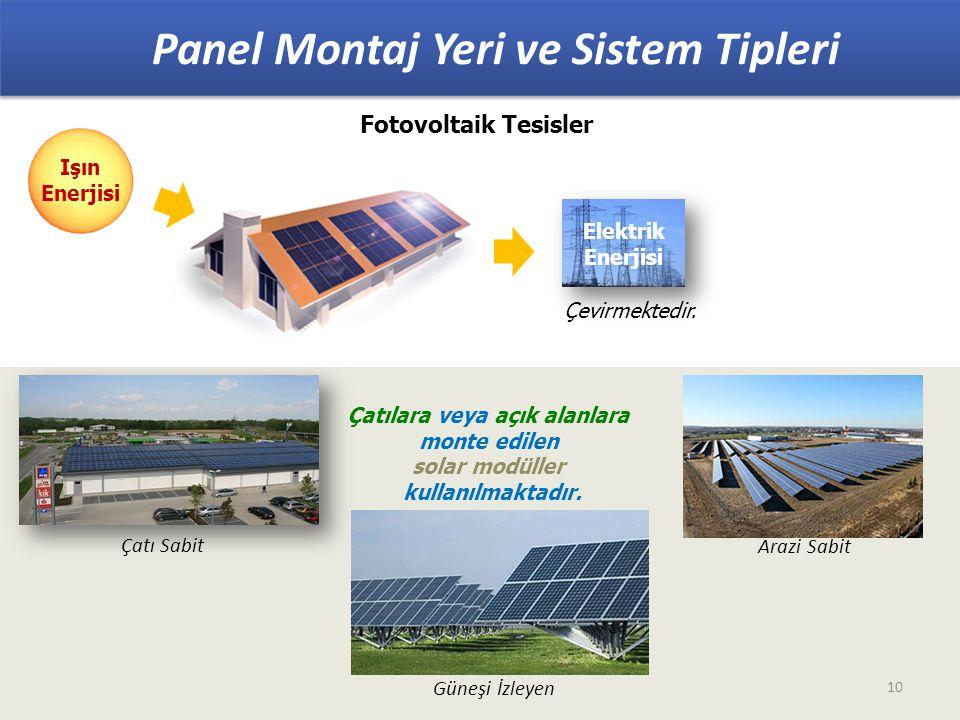 Fotovoltaik Tesisler Panel Montaj Yeri ve Sistem Tipleri 10 Çatılara veya açık alanlara monte edilen solar modüller kullanılmaktadır.