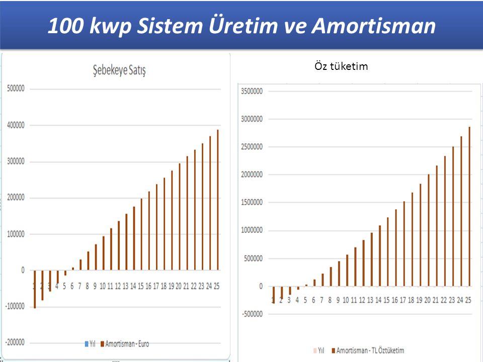 23 100 kwp Sistem Üretim ve Amortisman Öz tüketim