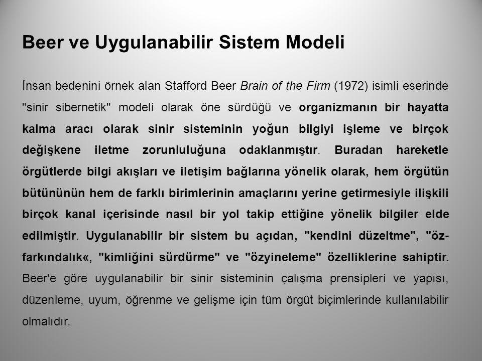 Beer ve Uygulanabilir Sistem Modeli İnsan bedenini örnek alan Stafford Beer Brain of the Firm (1972) isimli eserinde