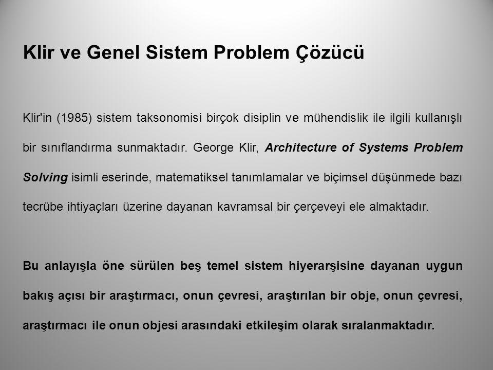 Klir ve Genel Sistem Problem Çözücü Klir'in (1985) sistem taksonomisi birçok disiplin ve mühendislik ile ilgili kullanışlı bir sınıflandırma sunmakta