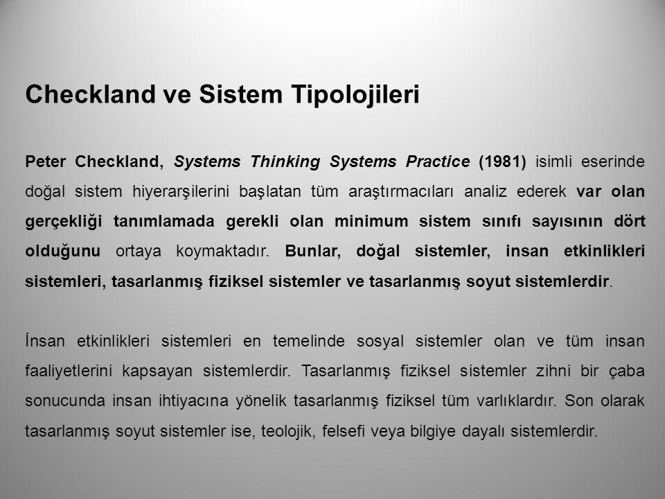 Checkland ve Sistem Tipolojileri Peter Checkland, Systems Thinking Systems Practice (1981) isimli eserinde doğal sistem hiyerarşilerini başlatan tüm a