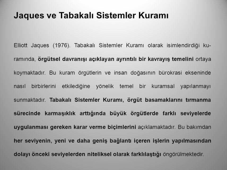 Jaques ve Tabakalı Sistemler Kuramı Elliott Jaques (1976). Tabakalı Sistemler Kuramı olarak isimlendirdiği ku ramında, örgütsel davranışı açıklayan a