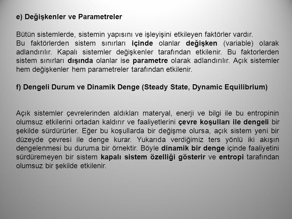 e) Değişkenler ve Parametreler Bütün sistemlerde, sistemin yapısını ve işleyişini etkileyen faktörler vardır. Bu faktörlerden sistem sınırları içinde