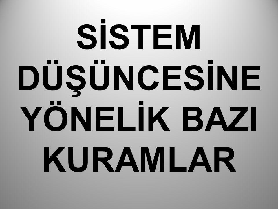 Boulding ve Sistem Karmaşıklığının Hiyerarşisi Sistem düşüncesi çerçevesinde ele alınan yaklaşımların önderi olarak Keneth Boulding in Genel Sistem Kuramı-Bilimin İskeleti (1956) isimli eseri düşünülmektedir.