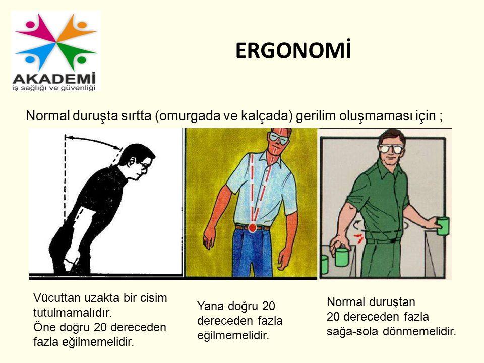 Normal duruşta sırtta (omurgada ve kalçada) gerilim oluşmaması için ; Vücuttan uzakta bir cisim tutulmamalıdır. Öne doğru 20 dereceden fazla eğilmemel