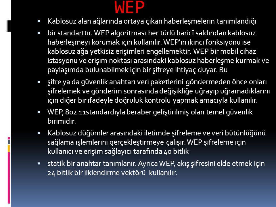 WEP  Kablosuz alan ağlarında ortaya çıkan haberleşmelerin tanımlandığı  bir standarttır. WEP algoritması her türlü haricî saldırıdan kablosuz haberl