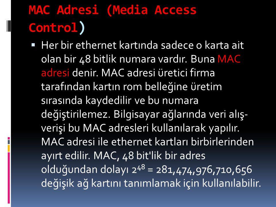 MAC Adresi (Media Access Control )  Her bir ethernet kartında sadece o karta ait olan bir 48 bitlik numara vardır. Buna MAC adresi denir. MAC adresi