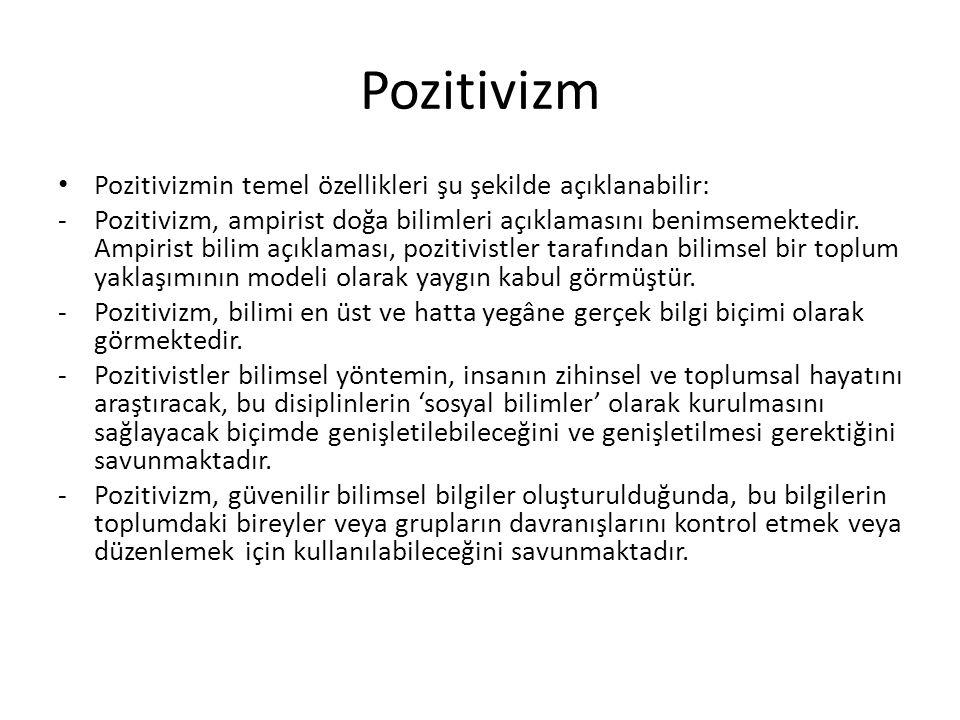 Pozitivizm Pozitivizmin temel özellikleri şu şekilde açıklanabilir: -Pozitivizm, ampirist doğa bilimleri açıklamasını benimsemektedir. Ampirist bilim