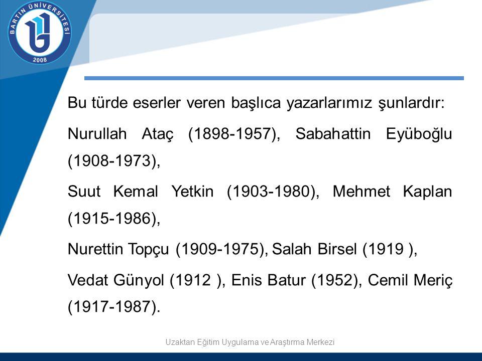 Bu türde eserler veren başlıca yazarlarımız şunlardır: Nurullah Ataç (1898-1957), Sabahattin Eyüboğlu (1908-1973), Suut Kemal Yetkin (1903-1980), Mehm