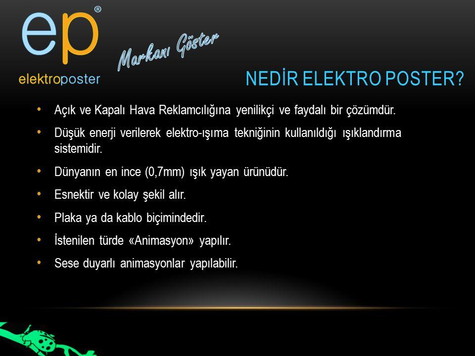 NEDİR ELEKTRO POSTER? Açık ve Kapalı Hava Reklamcılığına yenilikçi ve faydalı bir çözümdür. Düşük enerji verilerek elektro-ışıma tekniğinin kullanıldı