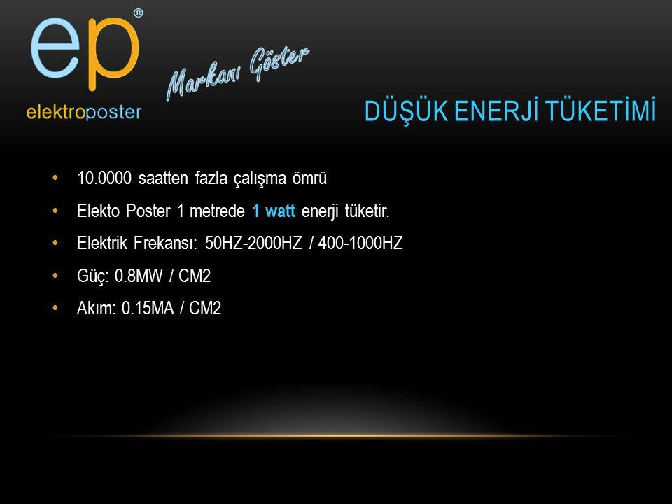 10.0000 saatten fazla çalışma ömrü Elekto Poster 1 metrede 1 watt enerji tüketir. Elektrik Frekansı: 50HZ-2000HZ / 400-1000HZ Güç: 0.8MW / CM2 Akım: 0