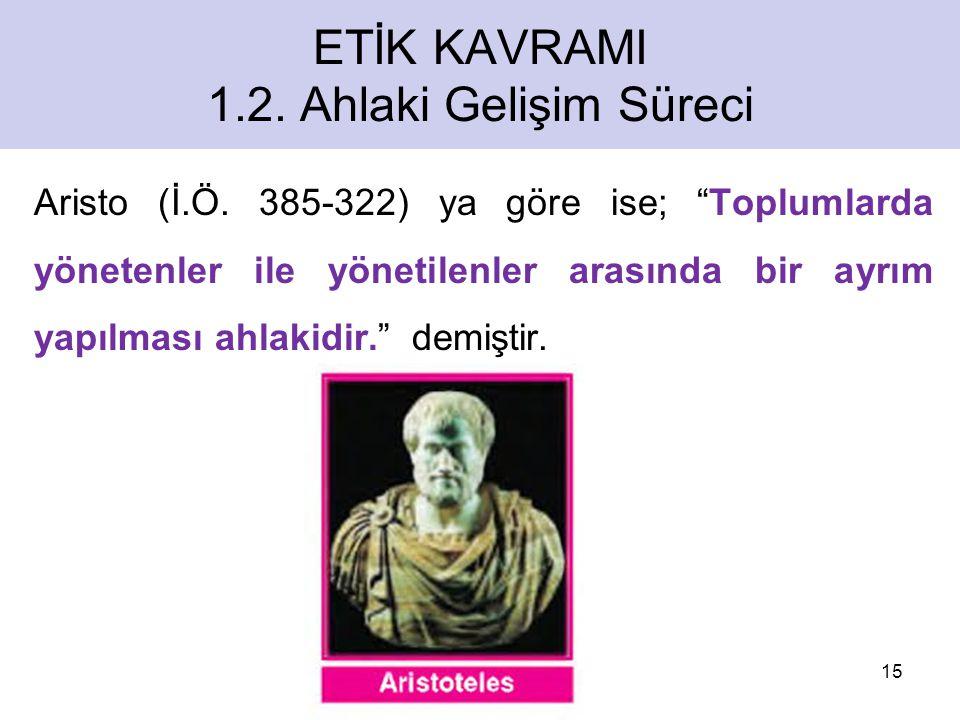 ETİK KAVRAMI 1.2.Ahlaki Gelişim Süreci Aristo (İ.Ö.