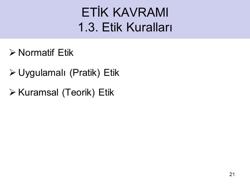 ETİK KAVRAMI 1.3.