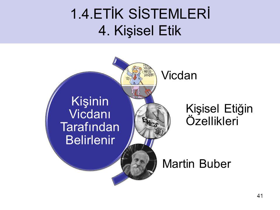 ETİK SİSTEMLERİ Kişinin Vicdanı Tarafından Belirlenir Vicdan Kişisel Etiğin Özellikleri Martin Buber 41 1.4.ETİK SİSTEMLERİ 4.