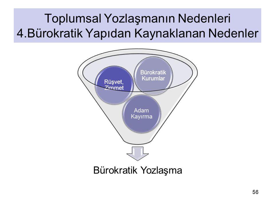 Bürokratik Yozlaşma Adam Kayırma Rüşvet, Zimmet Bürokratik Kurumlar 56 Toplumsal Yozlaşmanın Nedenleri 4.Bürokratik Yapıdan Kaynaklanan Nedenler
