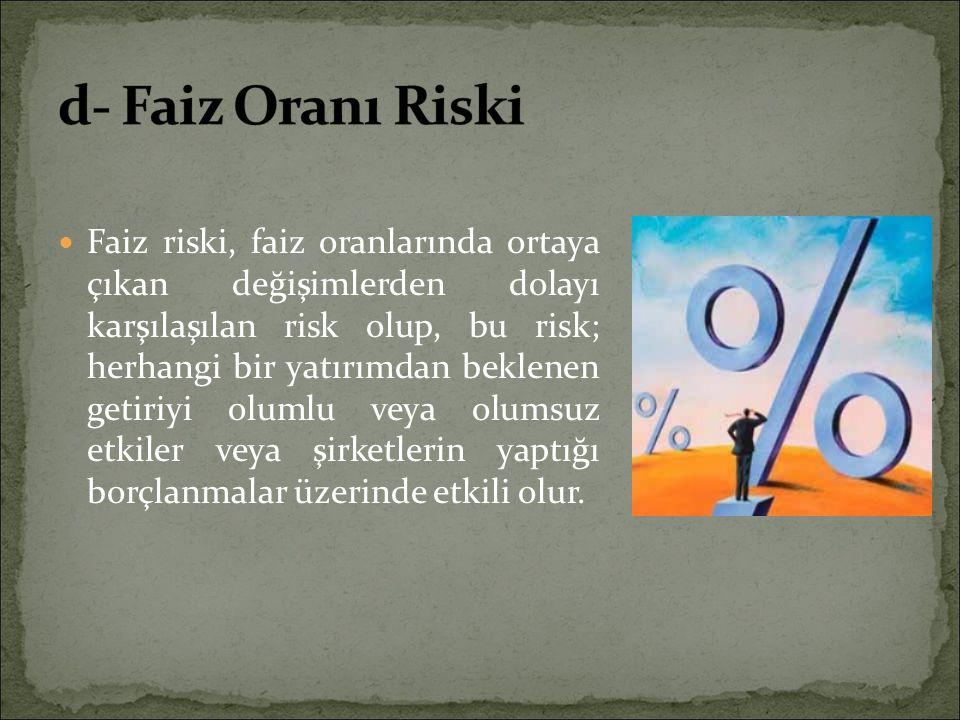 Faiz riski, faiz oranlarında ortaya çıkan değişimlerden dolayı karşılaşılan risk olup, bu risk; herhangi bir yatırımdan beklenen getiriyi olumlu veya