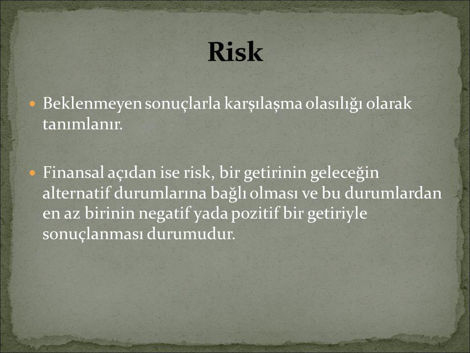 Beklenmeyen sonuçlarla karşılaşma olasılığı olarak tanımlanır. Finansal açıdan ise risk, bir getirinin geleceğin alternatif durumlarına bağlı olması v